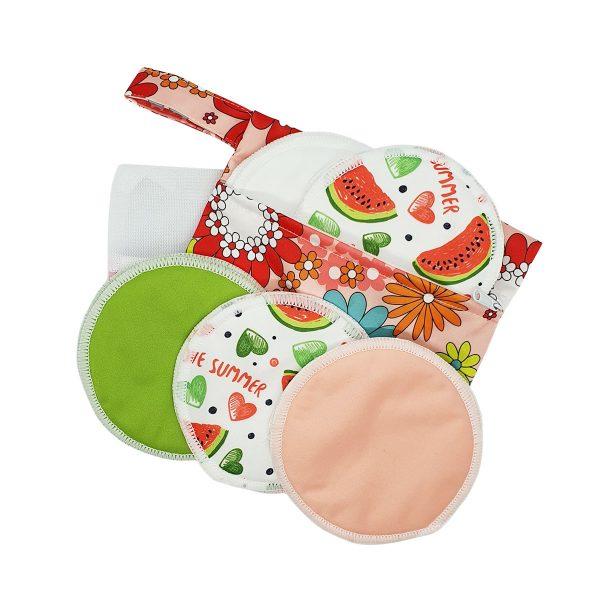 Milk Baby Bamboo Reusable Breast Pads - Summer Melon 1